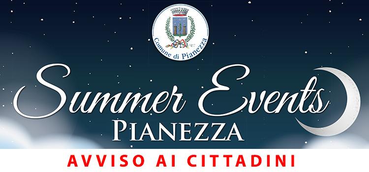Avviso ai cittadini – Summer Events 2020