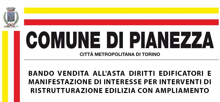 Bando vendita all'asta diritti edificatori e manifestazione di interesse per interventi di ristrutturazione edilizia con ampliamento